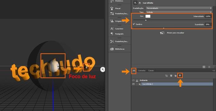 Ajuste o foco de luz no modelo de texto em 3D no Photoshop (Foto: Reprodução/Bárbara Mannara)