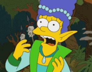 Marge em sua versão virtual no game online que parece 'WoW' (Foto: Reprodução/The Simsons.com)