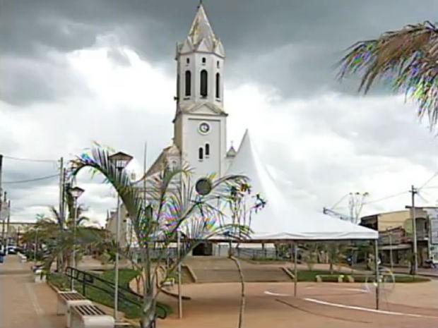 Praça de Araçoiaba da Serra (Foto: Reprodução/TV TEM)