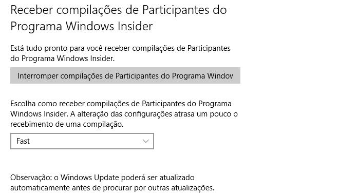 Ative o modo Fast ring para receber novas versões do Windows 10 imediatamente (Foto: Reprodução/Helito Bijora)