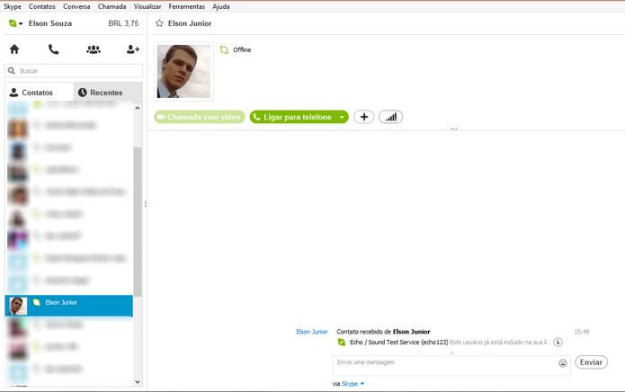 Procure a conta Skype para qual você deseja enviar seus contatos (Foto: Reprodução/Elson de Souza)