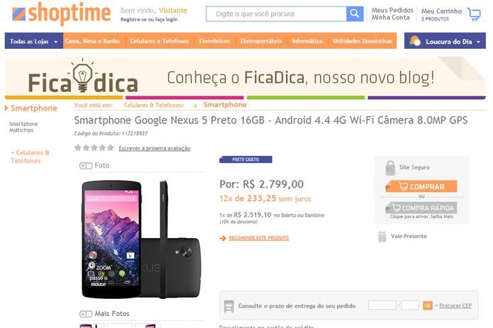 Shoptime tem o preço 'mais barato' para o Nexus 5 (Foto: Reprodução)