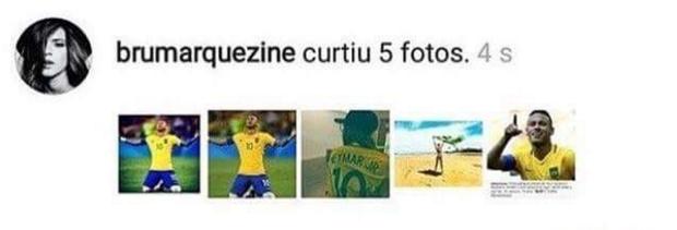 Fãs printam curtidas de Bruna Marquezine nas fotos de Neymar (Foto: Reprodução/Instagram)