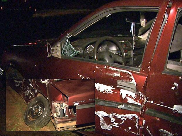 Mãe e filha foram as únicas arremessadas para fora do carro atingido por um caminhão em rodovia de Sales Oliveira (Foto: Reprodução EPTV)