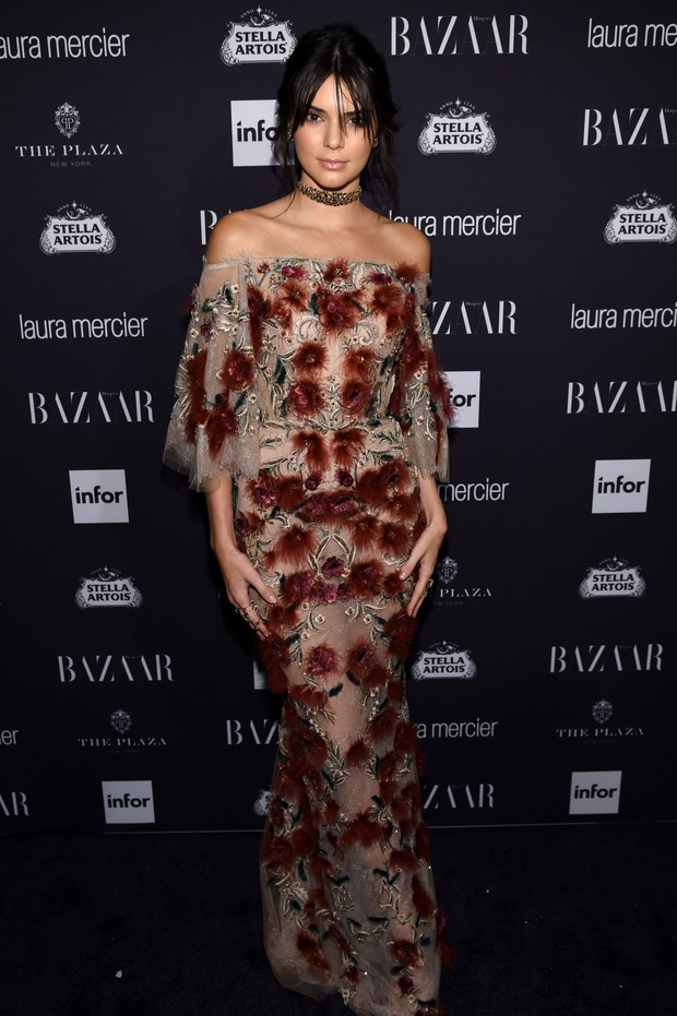 Kendall Jenner em festa em Nova York, nos Estados Unidos (Foto: Dimitrios Kambouris/ Getty Images/ AFP)