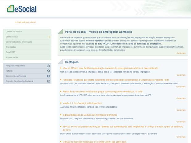 Página do eSocial, onde empregadores terão que cadastrar os trabalhadores domésticos (Foto: Reprodução)