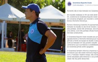 Goianésia demite Romerito depois de 3ª derrota consecutiva no Goiano