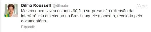 """Dilma Rousseff comenta no Twitter o documentário """"O dia que durou 21 anos"""" (Foto: Reprodução)"""