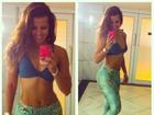 Renata Santos faz selfie de top: 'Projeto ficar sequinha'