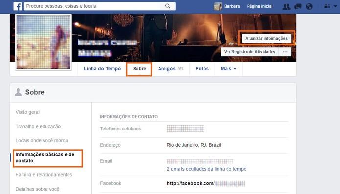 Acesse as informações sobre seu perfil no Facebook (Foto: Reprodução/Barbara Mannara) (Foto: Acesse as informações sobre seu perfil no Facebook (Foto: Reprodução/Barbara Mannara))