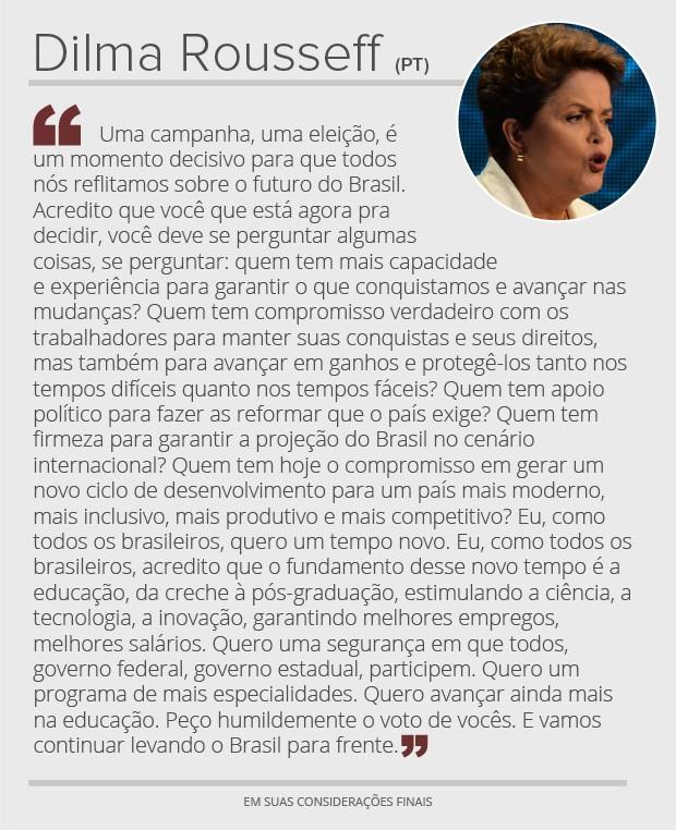 Dilma - considerações finais (Foto: Arte/G1)