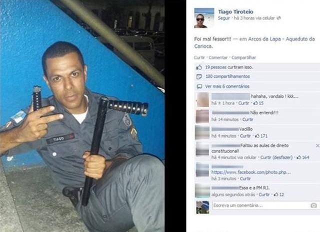PM mostra cassetete, faz menção a professores e causa repúdio na web. (Foto: Reprodução / Facebook / Tiago Tiroteio)