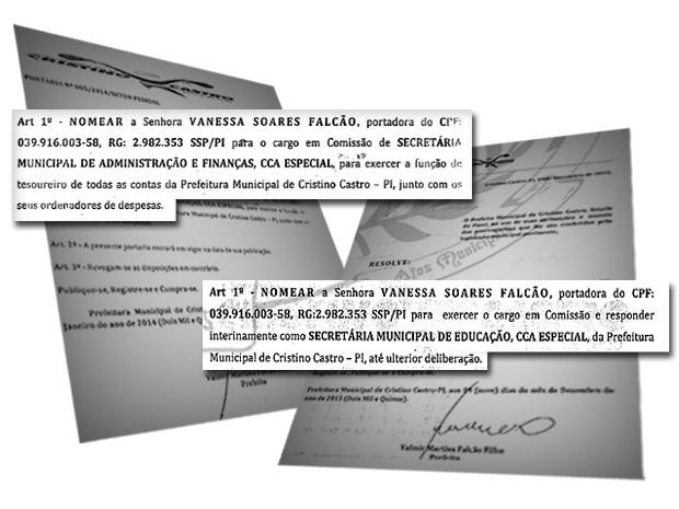 Prefeito nomeou filha para secretarias de administração e finanças e educação (Foto: Reprodução/Diário Oficial dos Municípios)