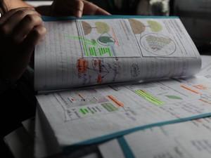 16h30: A jovem usa marca-texto e papéis de recados para reforçar o conteúdo dos livros e apostilas (Foto: Caio Kenji/G1)
