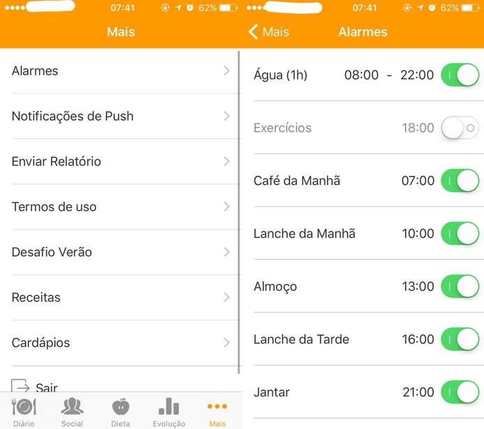 Alarmes para definir prazos no TecnoNutri (Foto: Reprodução/Felipe Vinha)
