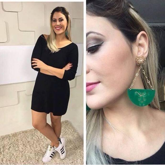 Jessica Leão mostra o look da semana  (Foto: Reprodução / TV Diário )