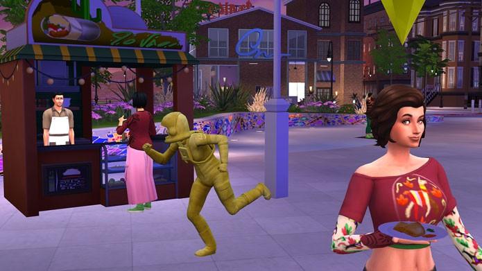 Os Sim podem curtir festivais temáticos e comidas de rua na nova expansão (Foto: Reprodução/Tais Carvalho)