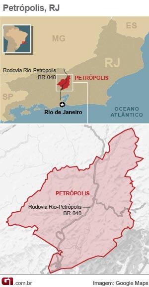 Mapa Petrópolis (Foto: Editoria de Arte/G1)