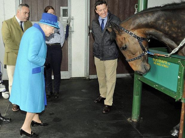Rainha Elizabeth visitou um hospital de cavalos nesta terça-feira (29) (Foto: Rebecca Naden/ Reuters)