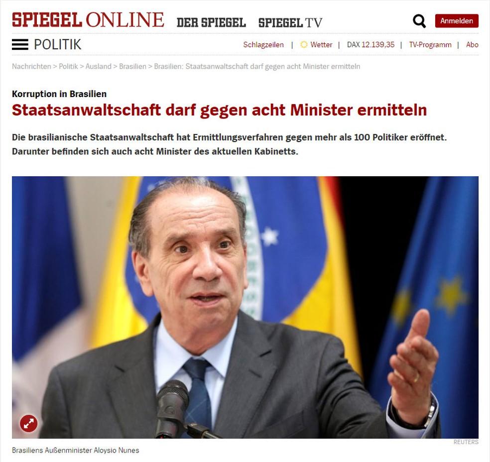 A revista alemã Spiegel publicou nota sobre o caso (Foto: Reprodução/Spiegel)