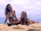Jade Barbosa exibe a barriga sarada em dia na praia com amiga: 'Miss'