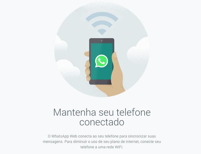 WhatsApp Web; site emite alerta que pede que seu celular se mantenha conectado (Foto: Reprodução/WhatsApp)
