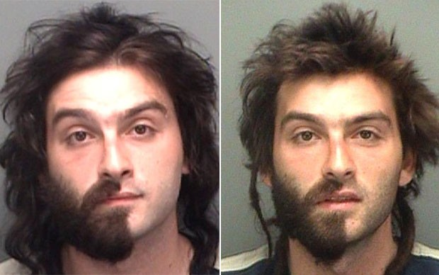 Salvatore Dichiera exibiu barba pela metade ao ser preso em 2009 e 2010 (Foto: Divulgação/Pinellas County jail)