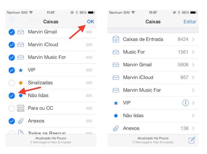 Ativando a caixa de entrada não lidas do Mail do iOS (Foto: Reprodução/Marvin Costa)