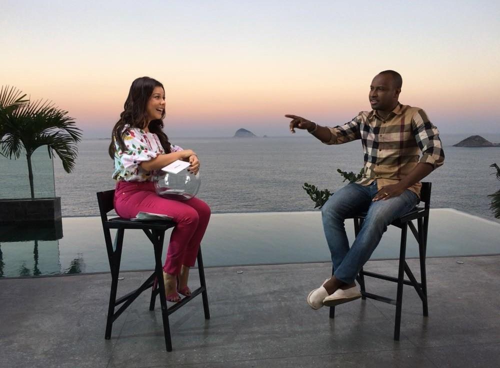 Thiaguinho e Fernanda Souza nas gravaes do programa dela, que estreia em outubro, no Multishow (Foto: Multishow)
