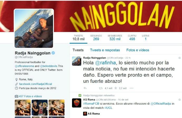 mensagem Radja Naiggolan Rafinha Alcântara (Foto: Reprodução / Twitter)