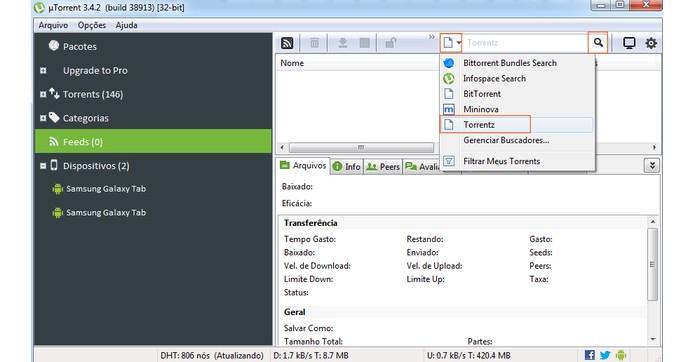 Agora ele pode ser utilizado no atalho de busca do uTorrent (Foto: Reprodução/Barbara Mannara)