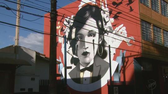 Grafite homenageia Pagu em São João da Boa Vista, SP