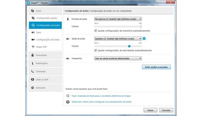 Janela de Opções de configuração de áudio do Skype (Foto: Reprodução/Raquel Freire)