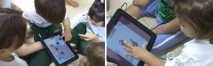Crianças usam tablet em escola brasileira (Foto: Cristina Boeckel/G1)