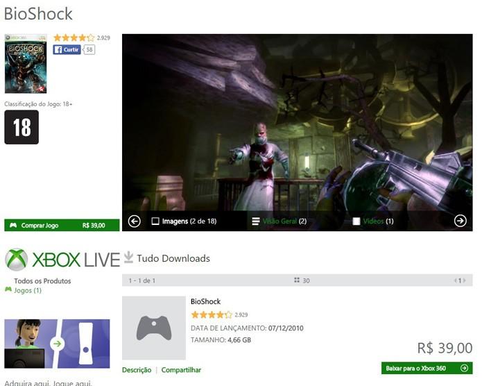 Página do título na Xbox LIVE Marketplace (Foto: Reprodução/André Mello)