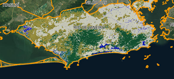 Imagem do MapBiomas mostra a cobertura florestal do município do Rio em verde (Foto: MapBiomas)