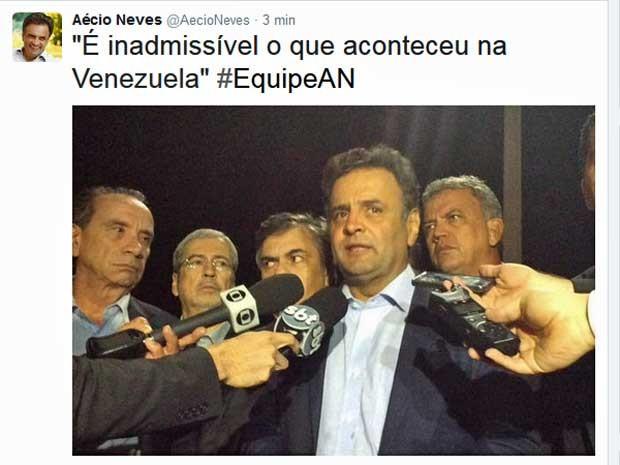 Twitter do senador Aécio Neves postou imagem da chegada da comitiva na Base Aérea de Brasília (Foto: Reprodução / Twitter de Aécio Neves)