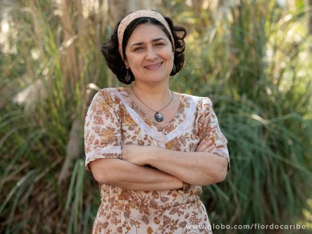 Inez Viana caracterizada como Maria Adília (Foto: Flor do Caribe / TV Globo)