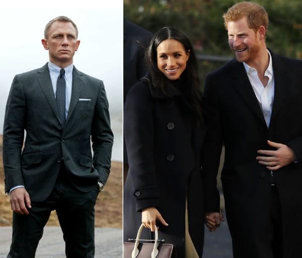 O ator Daniel Craig no papel de James Bond e a atriz Meghan Markle com o noivo, o Príncipe Harry (Foto: Reprodução/Getty Images)