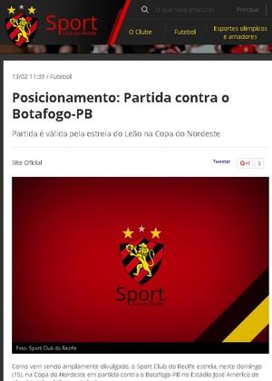 Site do Sport orienta torcida a não ir ao Almeidão (Foto: Reprodução / Site do Sport)