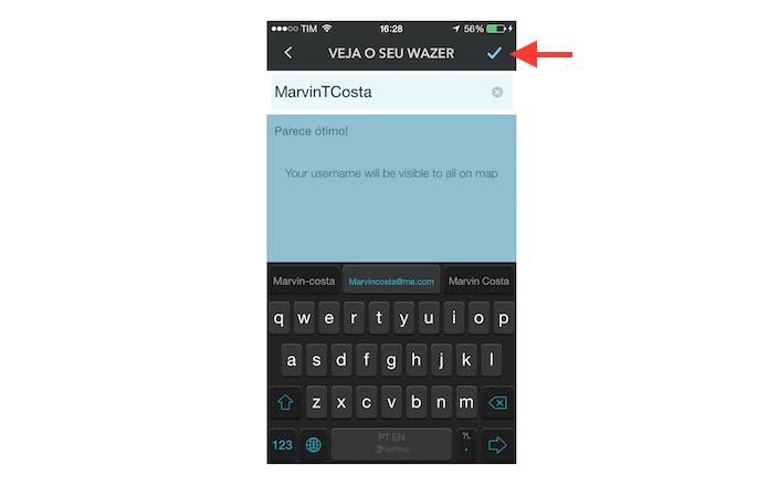 Definindo um novo nome de usuário no Waze (Foto: Reprodução/Marvin Costa)