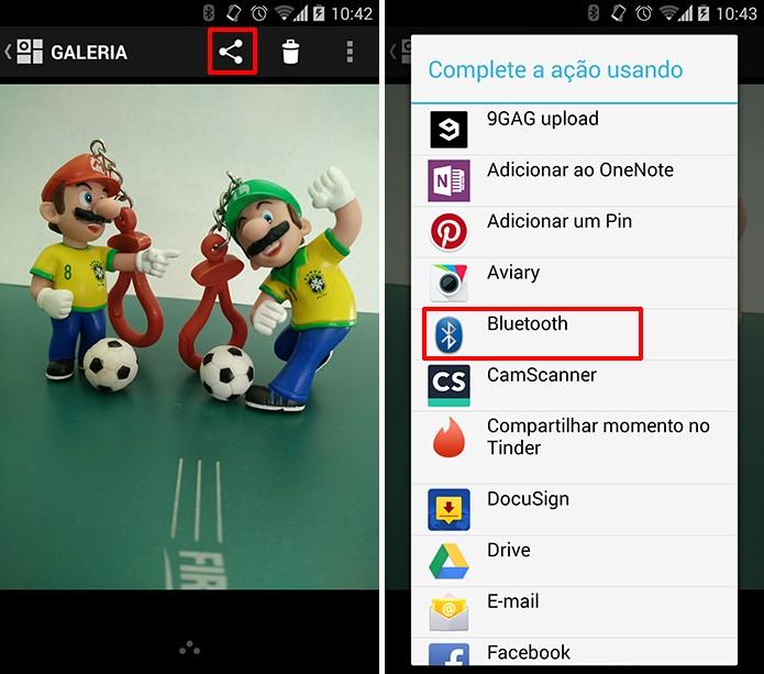 Abra a foto que deseja enviar a partir do Android e escolha compartilhar via Bluetooth (Foto: Reprodução/Elson de Souza)