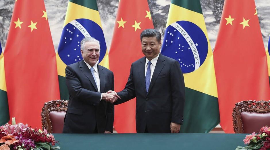 Michel Temer e o  presidente chinês, Xi Jinping  (Foto: Reprodução)