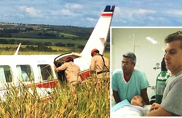 Avião com Angélica e Luciano Huck faz pouso forçado em MS; piloto diz que foi pane de combustível (Foto: Alysson Maruyama/TV Morena)