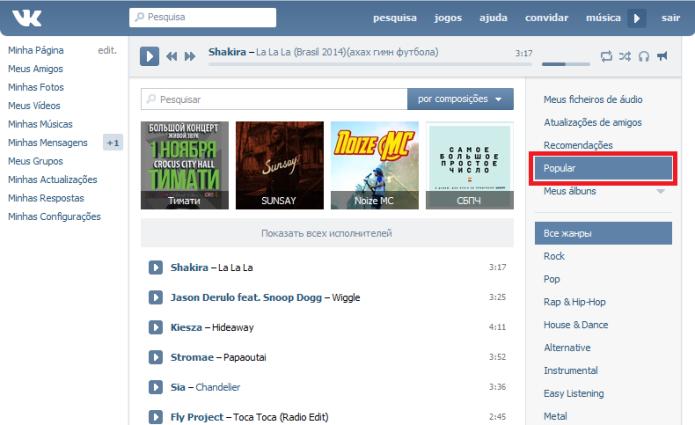 Playlists populares no VK (Foto: Reprodução/Lívia Dâmaso)