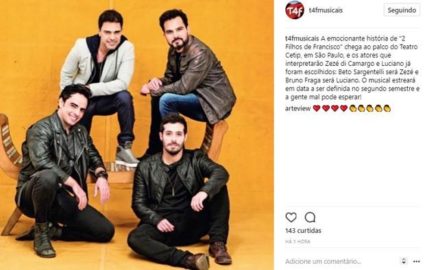 Beto Sargentelli será Zezé Di Camargo e Bruno Fraga será Luciano em musical de '2 Filhos de Francisco' (Foto: Reprodução/Instagram)