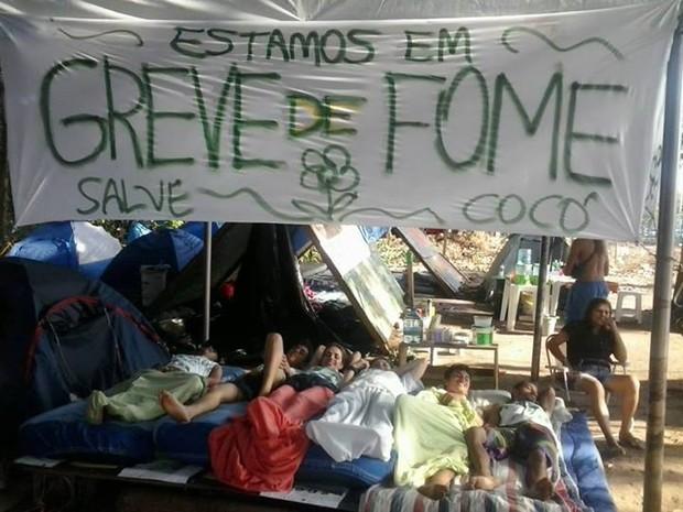 Grupo inicia greve de fome no Parque do Cocó (Foto: Ocupe Cocó)