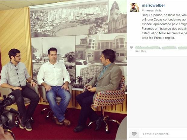 Mário Welber e Bruno Covas em entrevista para o Programa Opinião Cidade, em 19 de junho de 2014 (Foto: Reprodução/Instagram)