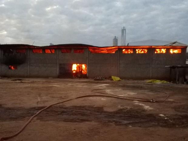 Boa parte da fábrica foi consumida pelo fogo (Foto: Corpo de Bombeiros / Divulgação)