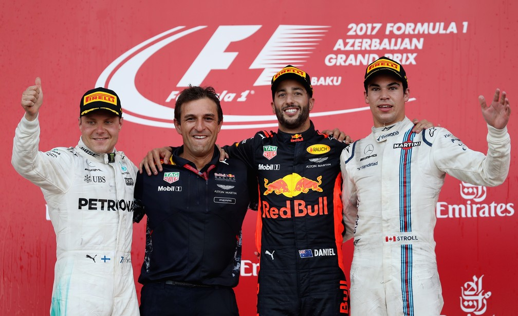 O pódio do GP do Azerbaijão (Foto: Getty Images)